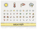 Weather hand drawing line icons vector doodle pictogram set color pen sketch sign illustration on paper with hatch symbols storm Stock Photo