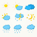 Weather hand drawn icon set eps Stock Photos
