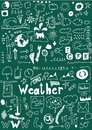 Weather hand drawn icons set school doodle Royalty Free Stock Photography