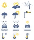Weather icon set colored vector collection Stock Images