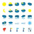 Weather icon set. Flat Symbols are isolated on white Background. Cartoon colorfull art vector illustrations. Vector