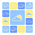 Weather icon set white on colored background Stock Images