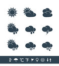 Weather icons black and white Royalty Free Stock Photo