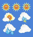Weather icons with blue background Royalty Free Stock Photos