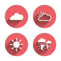 Weather icons. Cloud and sun. Storm symbol Royalty Free Stock Photo