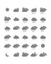 Weather icons collection of isolated on white background Royalty Free Stock Image