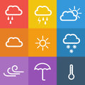 Weather icons on color background. Royalty Free Stock Photo
