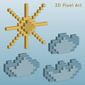 Weather icons. 3D Pixel Art.