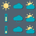 Weather icons in a flat design Stock Photo