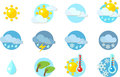 Weather icons in flat design sunny cloudy rain storm snow wind hot and cold Stock Images