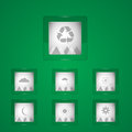 Weather icons on green background vector Stock Photography