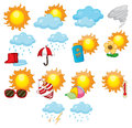 Weather icons illustration of mixed symbols Royalty Free Stock Photos