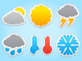 Weather icons made of color paper eps transparent shadows Stock Images