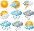 Weather icons nine related set Royalty Free Stock Photo