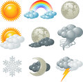 Weather icons nine related set Stock Photo