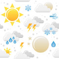 Weather icons seamless pattern a with colorful forecast on white background eps file available Stock Image