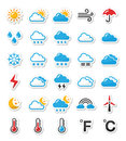 Weather icons set as labels -  Royalty Free Stock Photo