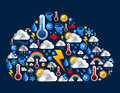 Weather icons set in cloud shape Stock Photo