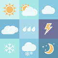 Weather icons set colorful for mobile app Royalty Free Stock Images