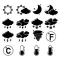 Weather icons set forecast symbols black pictograms of hot cold temperature isolated vector illustration Stock Images
