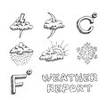 Weather icons set hand drawn sketch vector eps illustration isolated on white background Stock Photos