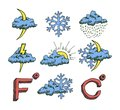 Weather icons set hand drawn sketch vector eps illustration isolated on white background Stock Images