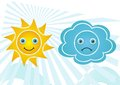 Weather icons set of happy sun and sad cloud yellow and blue Royalty Free Stock Photo