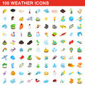 100 weather icons set, isometric 3d style