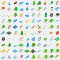100 weather icons set, isometric 3d style
