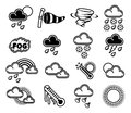 Weather icons a set of monochrome like those used in forecasts Stock Image