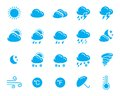 Weather icons set of simple solid one color Royalty Free Stock Photos