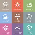 Weather icons set of and storm symbol Stock Photo