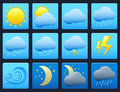 Weather icons set of vector colorful on blue buttons Royalty Free Stock Photos