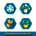 Weather icons set vector of seasonal in the style of a flat design can be used for websites interfaces applications Stock Photo