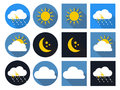 Weather Icons with Sun, Cloud, Rain and Moon Royalty Free Stock Photo
