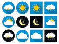 Weather Icons with Sun, Cloud, Rain and Moon in Royalty Free Stock Photo