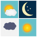 Weather Icons with Sun, Cloud, Rain and Moon Vector Illustration Royalty Free Stock Photo