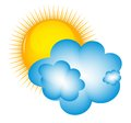 Weather icons with sun cloud and thermometer this is file of eps format Royalty Free Stock Photos