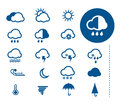 Weather icons vector blue set Stock Photos