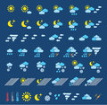 Weather icons which represent conditions Royalty Free Stock Photo