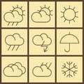 Weather icons on yellow background Stock Photography