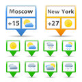 Weather indicators icons white background Stock Photo