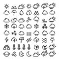 Weather line icons set - big pack of 70 weather forecast graphic elements, sun, cloud, rain, snow, wind, rainbow Royalty Free Stock Photo