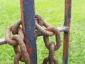 In the weather metal chains and locks will rust Royalty Free Stock Photo