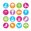 Weather and nature icons set of in colorful buttons Stock Image