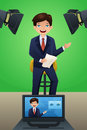 Weather reporter a vector illustration of a tv at work Royalty Free Stock Images