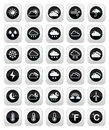 Weather round icons set black conditions seasons with reflection Royalty Free Stock Photography