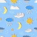 Weather seamless pattern. Cartoon sun, moon, star, clouds. Royalty Free Stock Photo