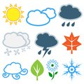 Weather And Seasons. Vector Set