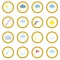 Weather set icon circle